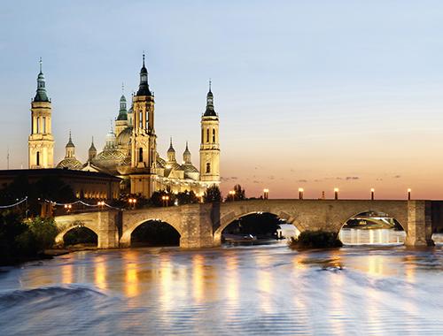 Zaragoza. Pilar, puente y rio Ebro